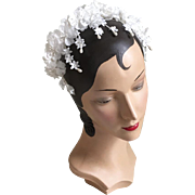 Vintage 1960s White Bridal Flower Headband Hat Whimsy