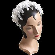 Vintage 1960s White Bridal Flower Headband Hat Whimsy