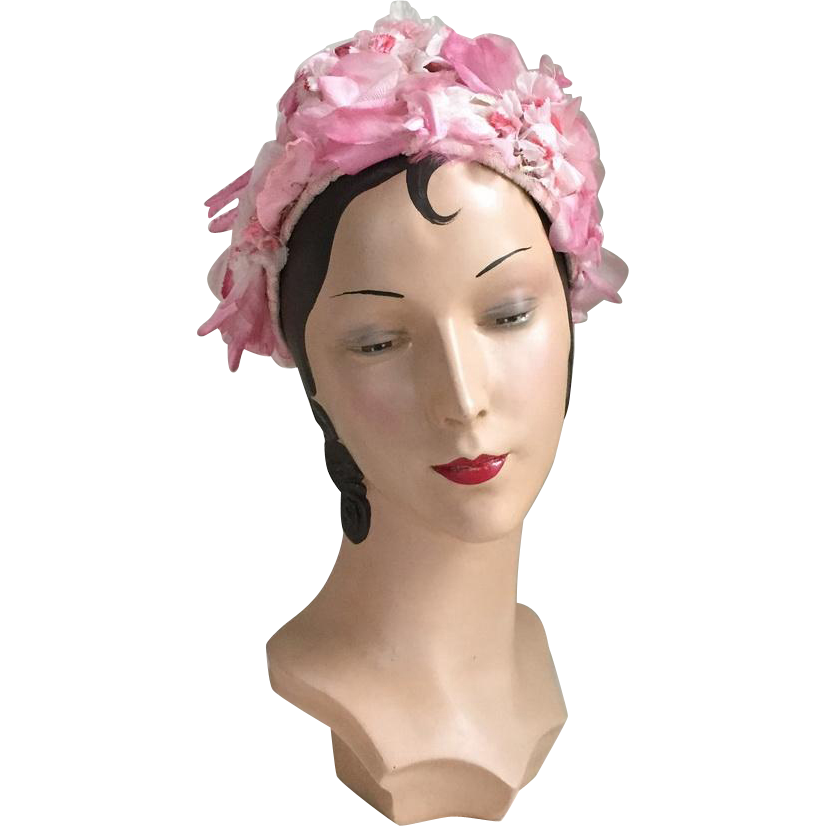 Vintage 1960s Pink Flower Covered Hat