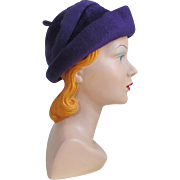 Vintage 1960s Duchess of Italy Plush Soft Purple Hat with Felt Trim