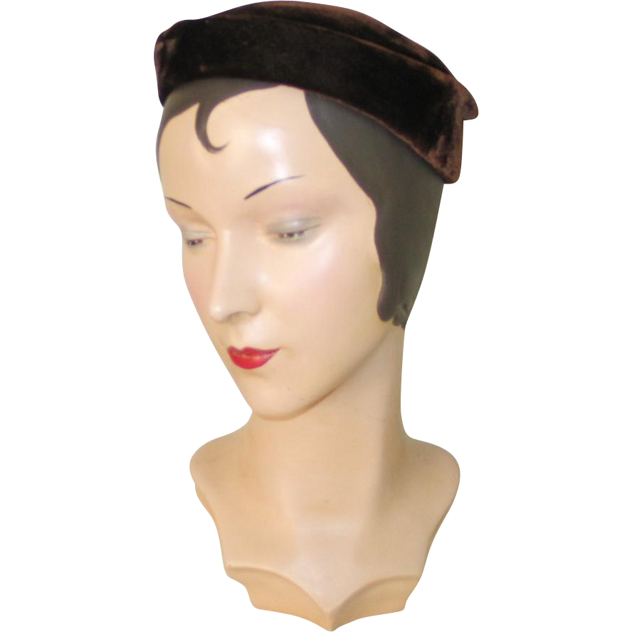 Vintage 1960s Dark Brown Velvet Stylized Pillbox Calot Hat