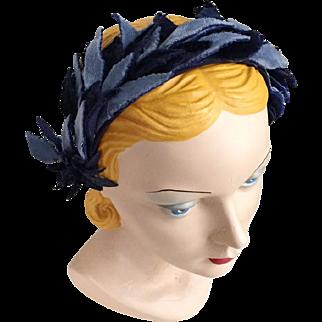 Vintage 1960s Two Tone Blue Fuzzy Skinny Leaves Headband Hat
