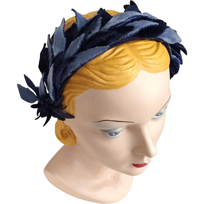 Vintage 1960s Two Tone Blue Fuzzy Skinny Leaves Headband Hat