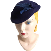 Vintage 1930s Navy Blue Wool Felt Sculpted Hat with Feathers