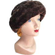 Vintage 1960s Cozy Faux Fur Dark Brown Black Leopard Print Winter Hat