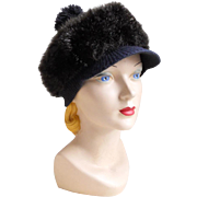 Vintage 1960s Cozy Dark Faux Fur Winter Hat with GoGo Girl Brim