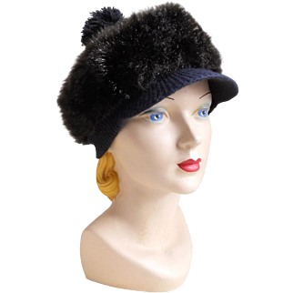 Vintage 1960s Cozy Dark Faux Fur Winter Hat with GoGo Girl Brim