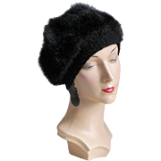 Vintage 1960s Luxurious Black Faux Fur Winter Hat Beret with Pretty Crochet Trimmed Edge