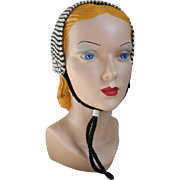 Vintage 1950s Black Cream and Silver Winter Knit Hat Earwarmers Earmuffs