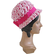 Vintage 1960s Pink Novelty Weave Summer Straw Bubble GoGo Hat