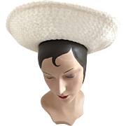 Vintage 1960s White Textured Straw Picture Hat with Wide Brim and Navy Velveteen Ribbon Hat Band