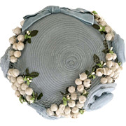 Vintage 1950s Pale Sky Blue Woven Hat with Flocked White Flowers and Net