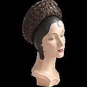 Vintage 1960s Brown Straw Breton Brimmed Hat
