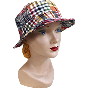 Vintage 1980s Red White and Blue Madras Plaid Bucket Casual Sport Fishing Hat