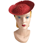 Vintage 1940s Red Straw Tilt Hat Toy Hat