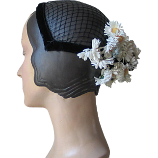 Vintage Spring Summer White and Black Daisy Flower Headband Novelty Hat