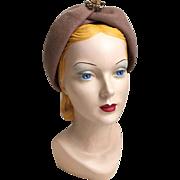 Vintage 1960s Cocoa Felt Turban Hat Ritz Henry Pollak