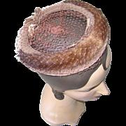 Vintage 1960s Light Brown Velvet Ring Halo Hat with Mink Trim Veil and Bows NOS