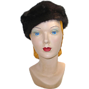 Vintage 1960s Chocolate Brown Fur Pillbox Hat Adolfo Realite's Paris New York