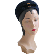 Vintage 1960s Navy Blue Wool BubblePillbox Hat by Everitt with Velvet Bow and Veil