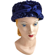 Vintage 1960s Fuzzy Blue Cello Novelty Pillbox Hat with Bow
