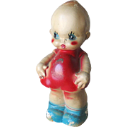 Enormous Kewpie Cupid Chalkware Chalk Ware Figurine Statue Bank Collectible in Red White and Blue