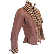 Antique 1885 Boned Bodice Jacket of Copper Faille with Brown and Cream Velvet Stripes  XS