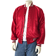 Authentic Vintage 1970s Red Satin Baseball Jacket White Rib Trim Disco Roller Skating Era M L