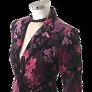 Vintage 1970s Magenta Lilac Black Plum Gray Rose Floral Print Velour Velveteen Jacket S