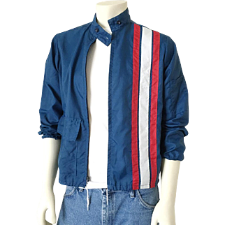 Vintage 1960s Windbreaker Navy Blue with Red White Vertical Stripes Race Jacket