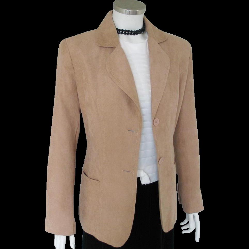 Vintage 1995 Kim Rogers Camel Faux Suede Jacket Blazer