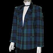 Vintage 1980s Black Watch Plaid Blazer Jacket with Contrast Black Velveteen Equestrian Collar 10