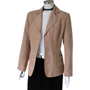 Vintage 1995 Kim Rogers Camel Faux Suede Jacket Blazer M