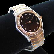 SUMMER SALE Ebel Classic Wave Ladies Watch Black Guilloche Diamond Dial & Bezel XS