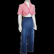 Vintage 1950s Side Zipper Blue Jeans Denim Dungarees Ranchwear Sanforized Scovill