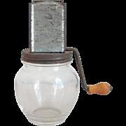 Vintage Nut Meat Chopper The Uniform Hazel Atlas Clear Glass Bottom with Metal Crank Lid