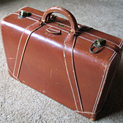 Vintage 1940s Horn Cognac Leather Satchel Briefcase Attaché Case Luggage
