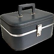 Vintage 1960s Marine Gray Travel Train Makeup Case Luggage Suitcase