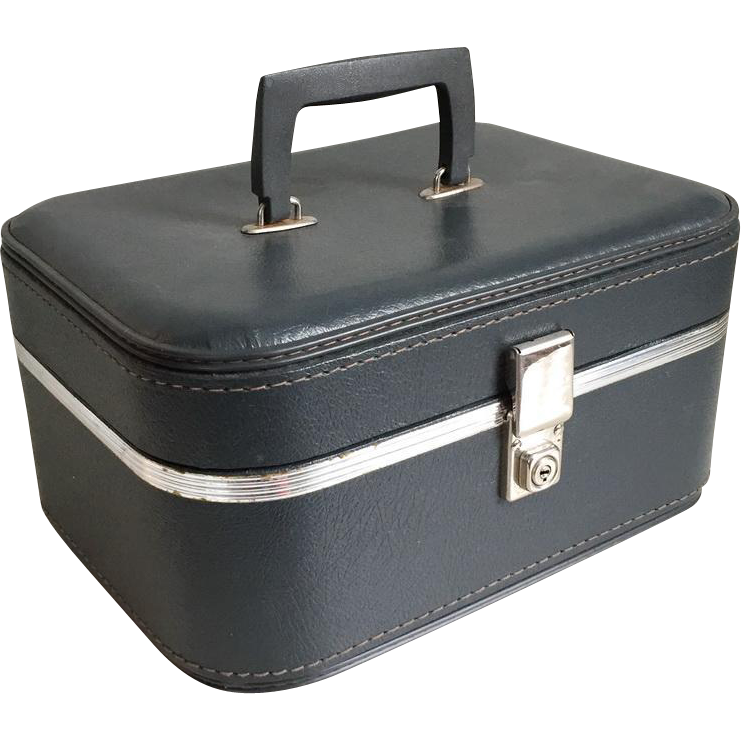 Vintage 1960s Marine Gray Travel Train Makeup Case Luggage ...