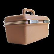 Vintage 1970s Light Brown Hardside Samsonite Make Up Train Case Carry On Luggage