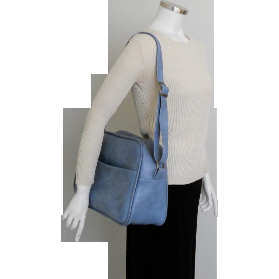 Vintage 1970s Light Blue Carry On Shoulder Bag Tote Luggage