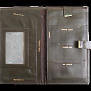 Vintage 1960s Passport Wallet Ocher Fatigue Olive Green Leather