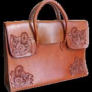 Vintage 1970s Chestnut  Tobacco Leaf Leather Tooled Briefcase Portfolio