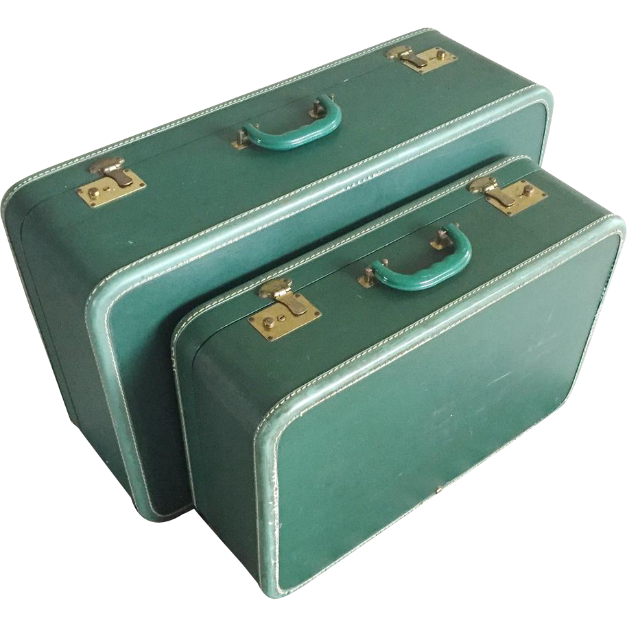 Vintage 1940s Deep Forest Green Two Piece Nesting Luggage Set