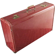Vintage 1950s Gorgeous Dark Red Towncraft Suitcase Luggage