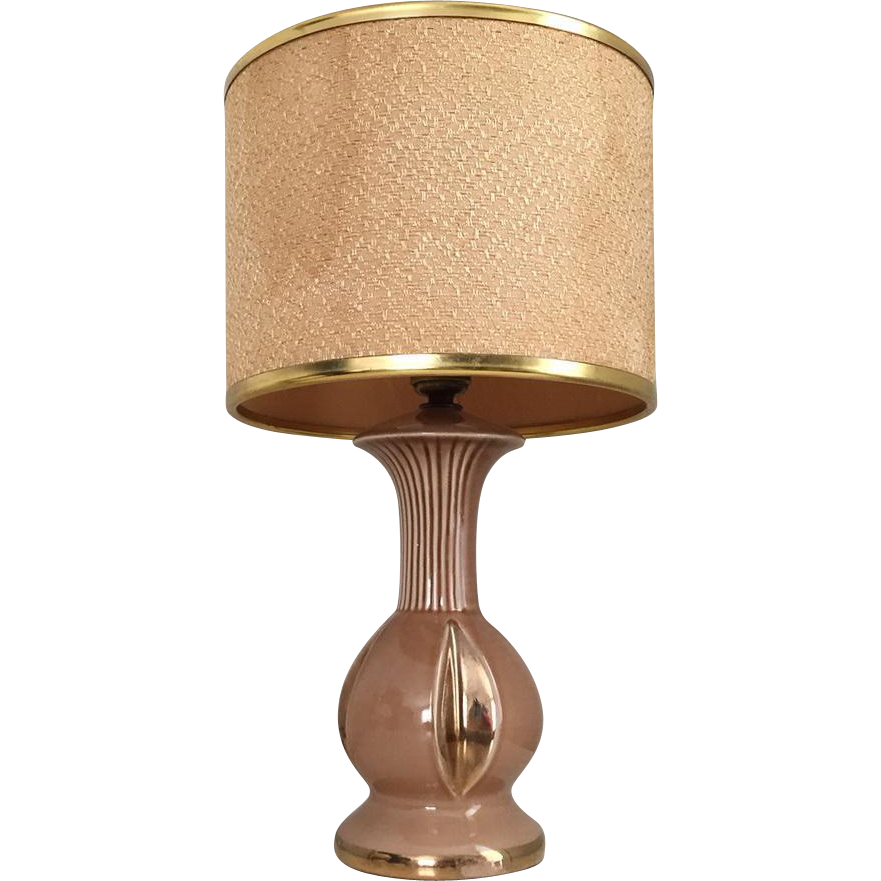 Vintage 1940s MCM Fawn Brown Gilt Trimmed Bedside Table Lamp