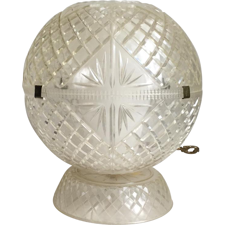 Vintage 1940s Clear Faceted Cut Look Round Plastic Table Lamp