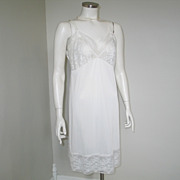 Vintage 1960s Komar White Nylon Full Slip with Floral Lace