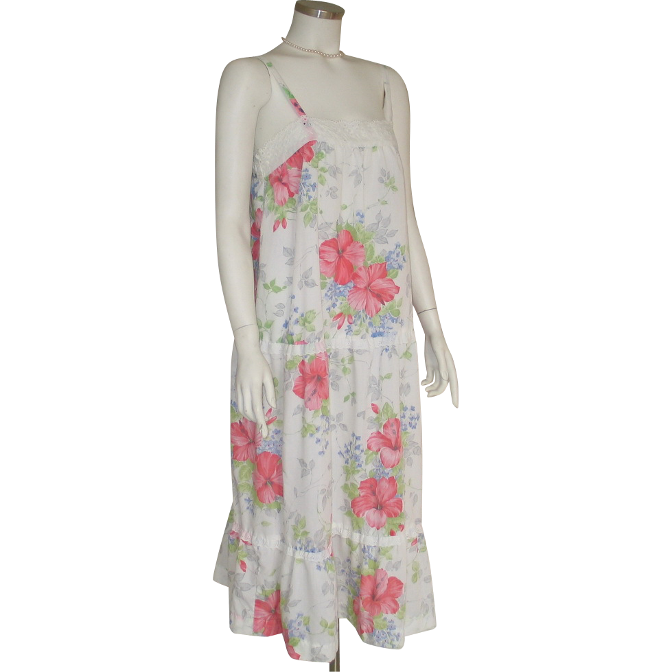 Vintage 1980s White Drop Waist Sun Dress Style Nightie with Bright Flower Print by  Lanz