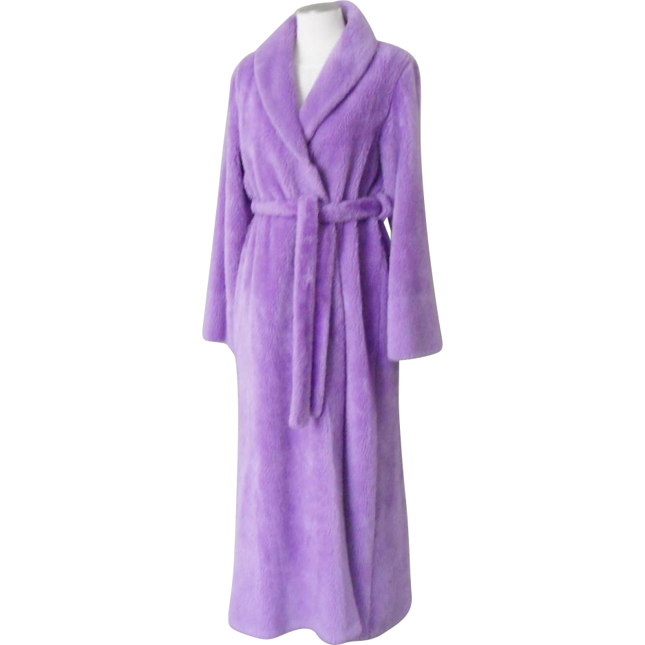 Vintage 1970s Borg Lavender Lilac Purple Fluffy Plush Pile Robe with Shawl Collar and Self Belt  L XL Volup